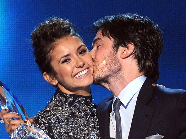 Ian Somerhalder and Nina Dobrev Get Quite Touchy on Vampire Diaries Set