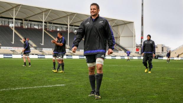 Captain's run Richie Mc Caw at AMI Stadium in Christchurch
