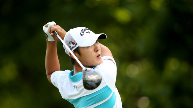 Danny Lee of New Zealand tees off on the 17th hole during the third round of the Greenbrier Classic