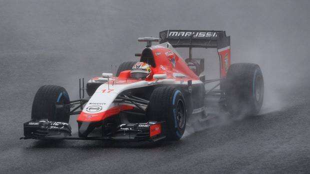 Jules Bianchi drives his Marussia just before his fatal accident at the Japanese Grand Prix last year