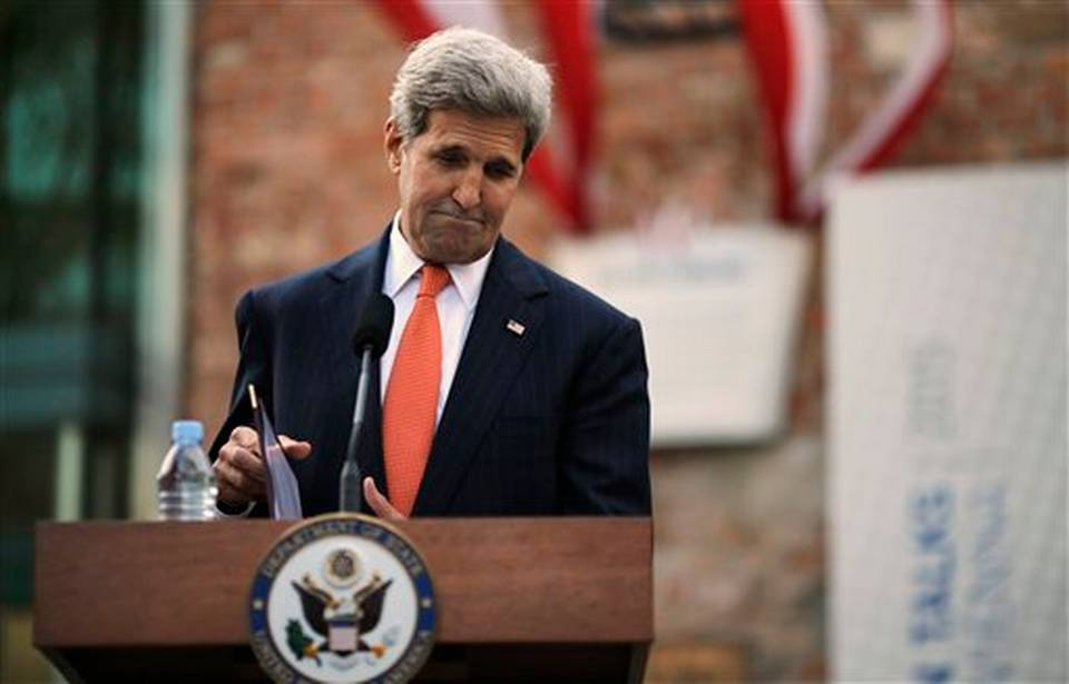 U.S. Secretary of State John Kerry pauses as he delivers a statement to the media on the Iran nuclear talks in Vienna Austria