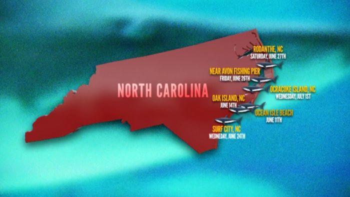 North Carolina shark attack locations