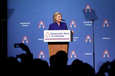 Hillary Clinton speaks during the Arkansas Democrats Jefferson Jackson Dinner 2015 in Little Rock Arkansas