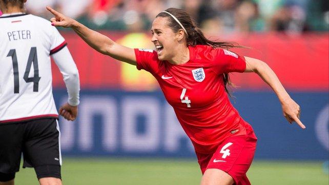 England's Fara Williams celebrates breaking the deadlock in Edmonton