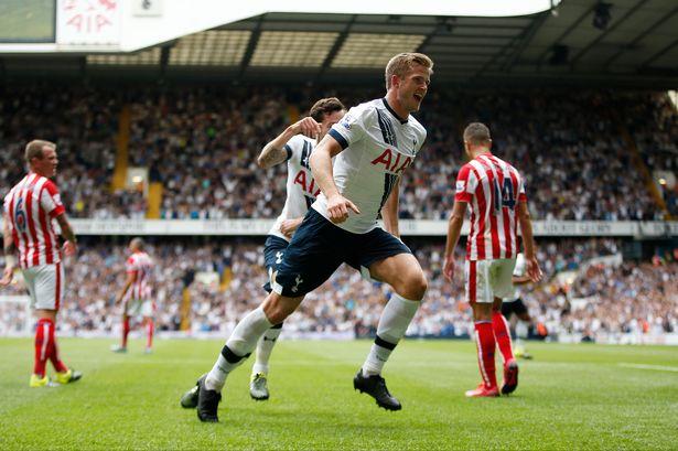 Eric Dier celebrates scoring the first goal for Tottenham
