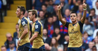 Alexis Sanchez Celebrates after Arsenal's second goal