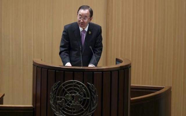 UN Secretary General Ban Kimoon addresses the opening of the Third International Conference on Financing for Development in Ethiopia's capital Addis Ababa