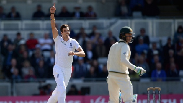 Brilliant bowling display... Steven Finn celebrates dismissing Australian captain Michael Clarke during day two of the Ashes Test at Edgbaston