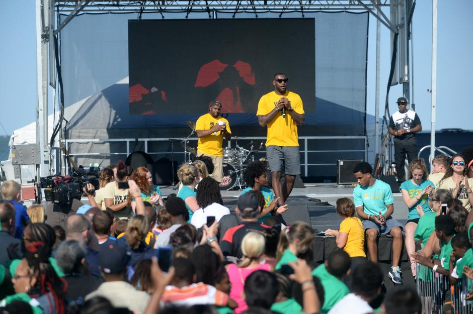 Le Bron James addresses more than 5,000 students of the Le Bron James Family Foundation and their families at the annual Family Reunion event Thursday Aug 13 at Cedar Point