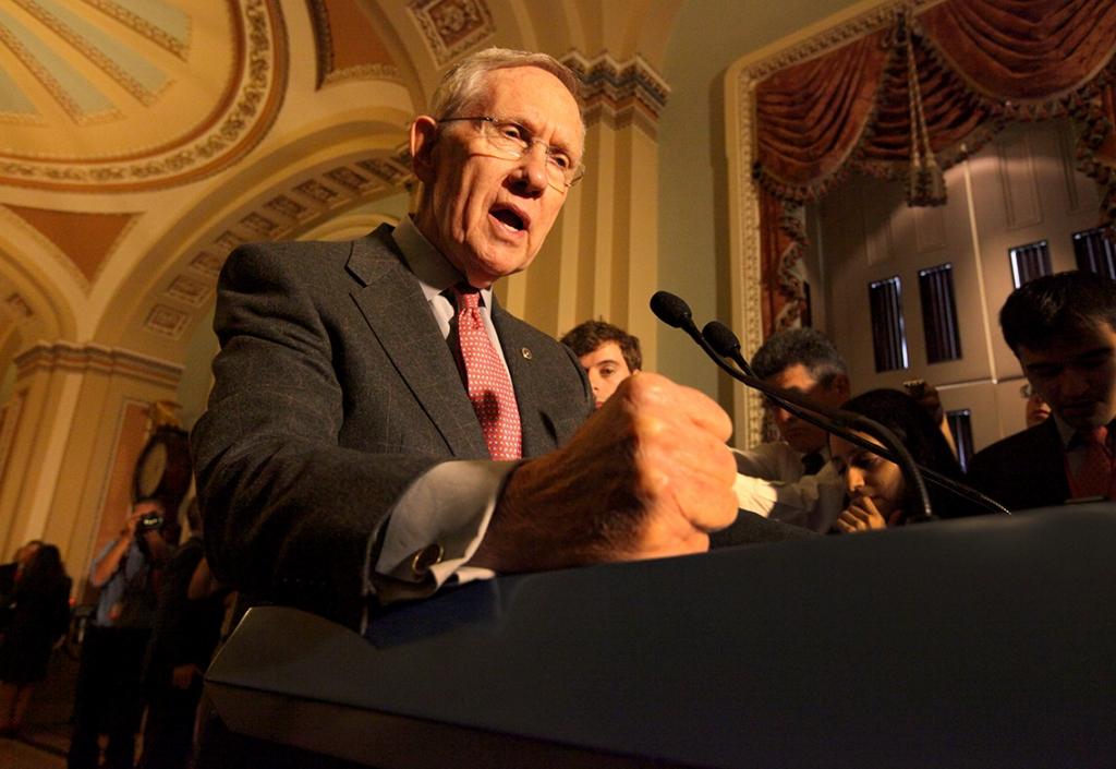 Senate Majority Leader Harry Reid talks to reporters Sept. 9 2014