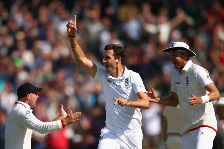 Steven Finn returned figures of five for 45 in his 13 overs so far