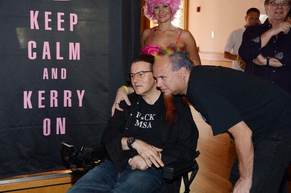 Chef Kerry Simon and food critic Al Mancini during Kerry Simon's Inaugural culinary memorabilia case dedication at Hard Rock Hotel & Casino