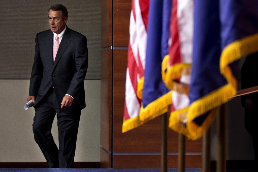 House Speaker John Boehner of Ohio arrives to speak at a news conference announcing his resignation on Friday Sept. 25 2015