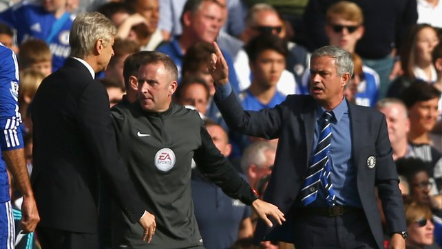 Jose Mourinho and Arsene Wenger at the Arsenal v Chelsea clash last October