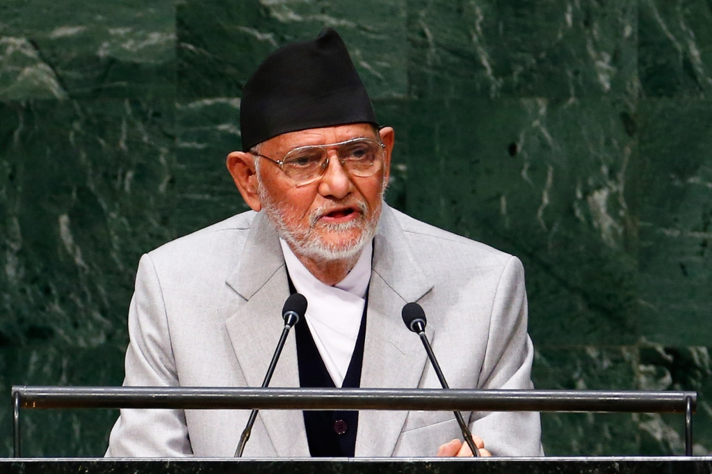 Sushil Koirala Prime Minister of Nepal addresses the 69th United Nations General Assembly at the U.N. headquarters in New York