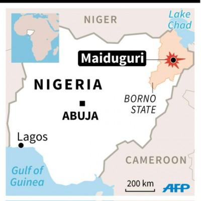 AFP Map of Nigeria locating attacks in Maiduguri