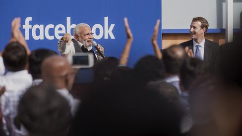 Narendra Modi India's prime minister speaks with Mark Zuckerberg at Facebook headquarters