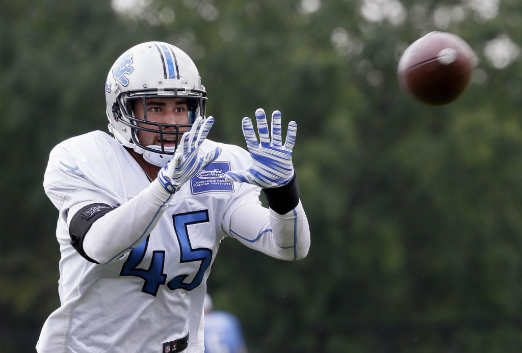 Detroit Lions safety Brian Suite runs through a drill at the Detroit Lions training facility Tuesday Sept. 1 2015 in Allen Park Mich