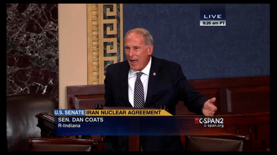 IN Senator Dan Coats testifies in the Senate against the Iran nuclear deal