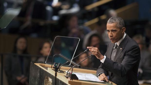 President Barack Obama addresses the 2015 Sustainable Development Summit Sunday Sept. 27 2015 at United Nations headquarters