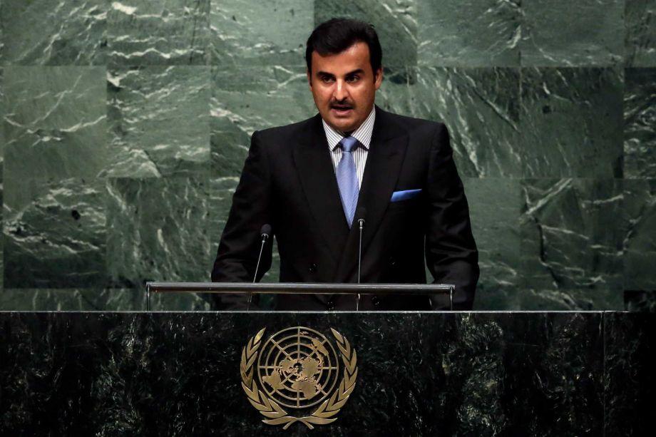 Qatar's Amir Sheikh Tamim Bin Hamad Al Thani addresses the 70th session of the United Nations General Assembly at U.N. Headquarters Monday Sept. 28 2015