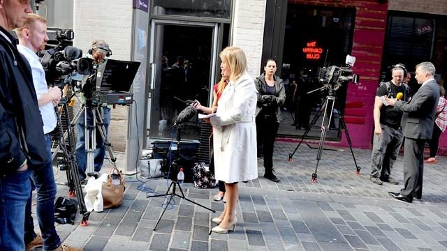 News crews live shots