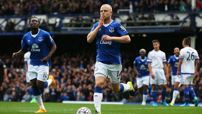 Steven Naismith celebrates scoring a hat-trick against Chelsea.                                                  Show Grid
