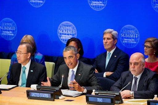 Barack Obama Haider al-Abadi Ban Ki-moon