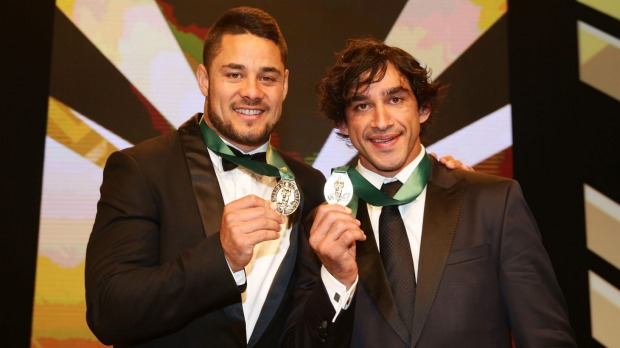 Winners Jarryd Hayne and Johnathan Thurston shared the Dally M Medal last season
