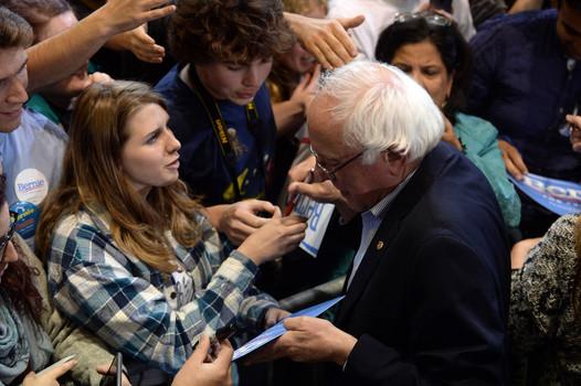 Bernie Sanders greets supporters in Boston