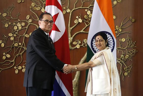 Indian Foreign Minister Sushma Swaraj right shakes hands with North Korea's Foreign Minister Ri Su Yong in New Delhi India. Ties are warming between New Delhi and Pyongyang with mineral-h