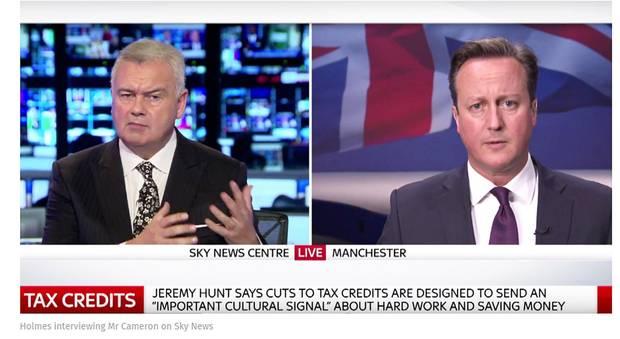 Eamonn Holmes interviewing David Cameron on Sky News