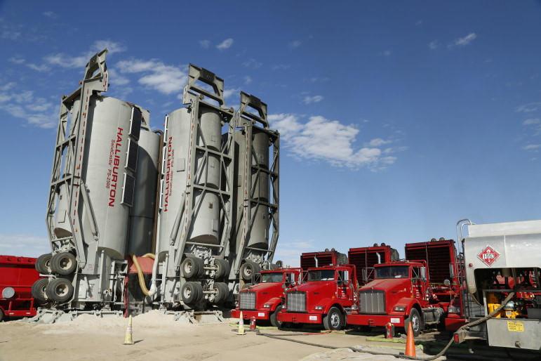 Halliburton fracking equipment at a Colorado oil and gas site