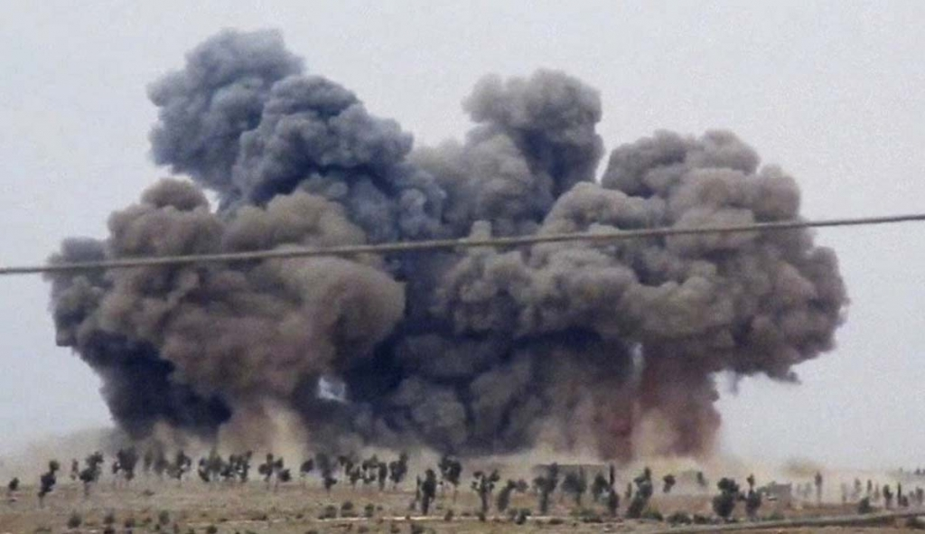 In this image made from video provided by Hadi Al-Abdallah which has been verified and is consistent with other AP reporting smoke rises after airstrikes in Kafr Nabel of the Idlib province western Syria Thursday Oct. 1 2015