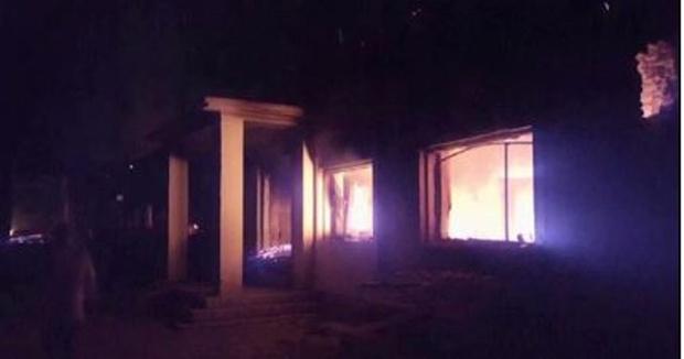 Flames roar through hospital building following airstrikes