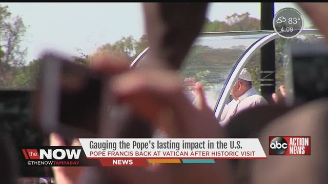 Pope Francis back at the Vatican after whirlwind US tour                      WFTS
