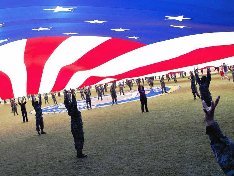 American flag holding