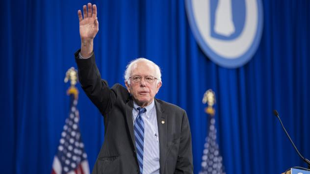 Bernie Sanders waves as he leaves the New Hampshire Democratic Party State Convention last month