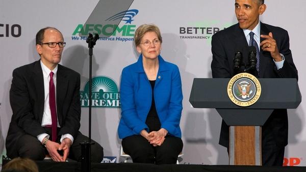 President Obama with Sen. Elizabeth Warren and DOL Secretary Thomas Perez
