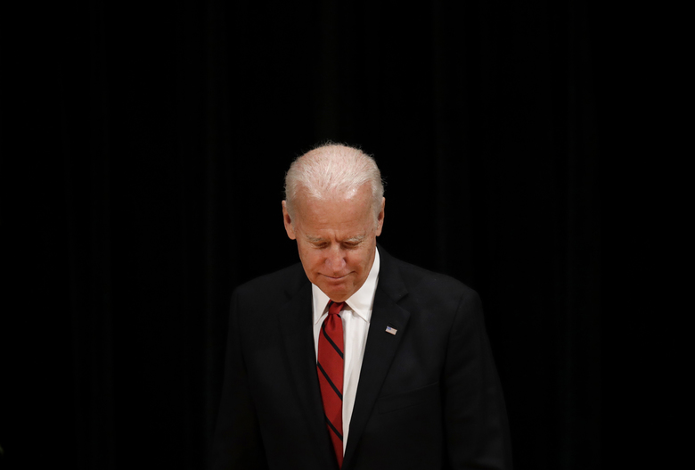 Former Vice President Joe Biden walks onstage during an event to formally launch the Biden Institute a research and policy center focused on domestic issues at the University of Delaware in Newark Del. Monday