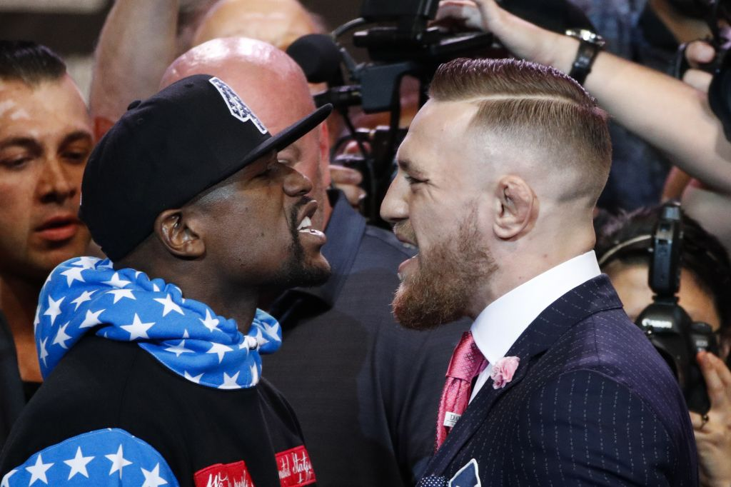 Gentlemen start your testosterone Floyd Mayweather Jr. and Conor Mc Gregor face up during the Los Angeles