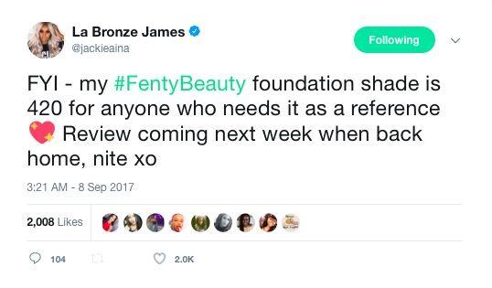 Screenshot from Jackie Aina's Twitter.e