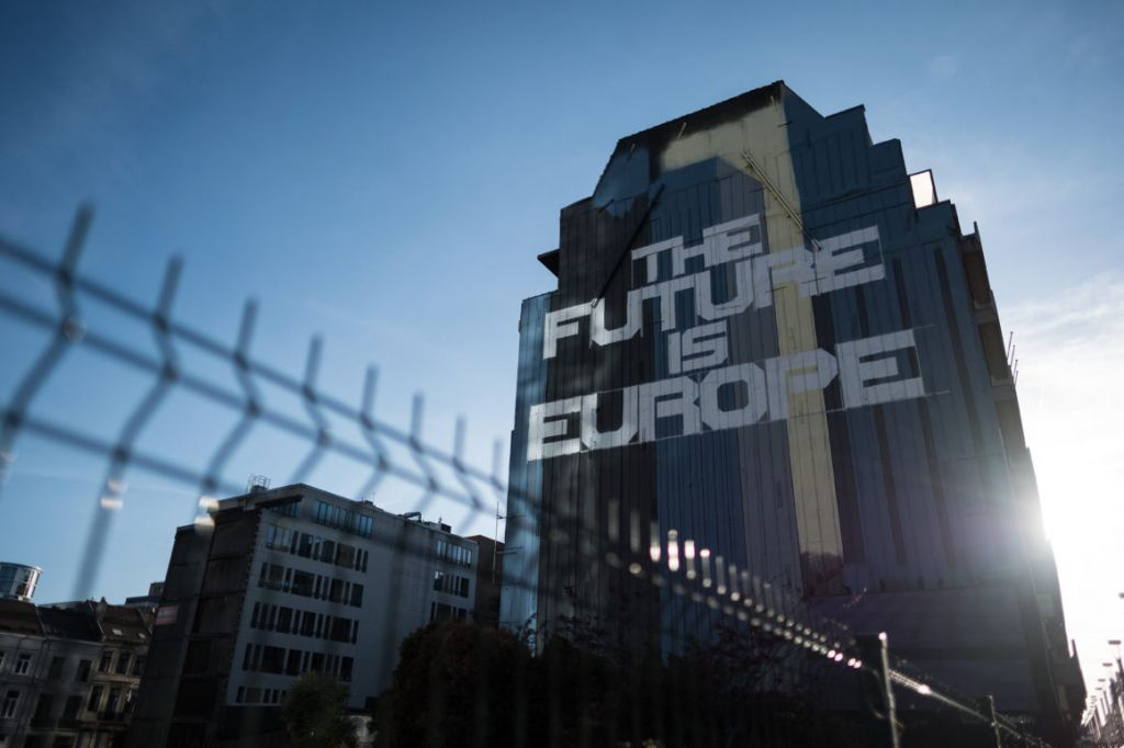 Street art reading'The Future Is Europe is seen on the side of a building near the European Council in Brussels | Leon Neal  Getty Images