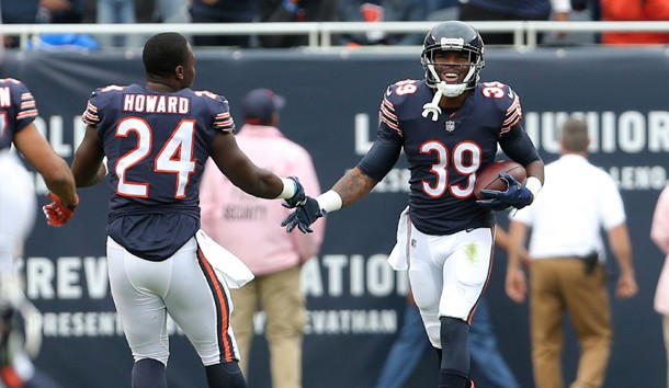 Oct 22 2017 Chicago IL USA Chicago Bears running back Jordan Howard congratulates free safety Eddie Jackson after a 76 yard interception return for a touchdown during the first half at Soldier Field