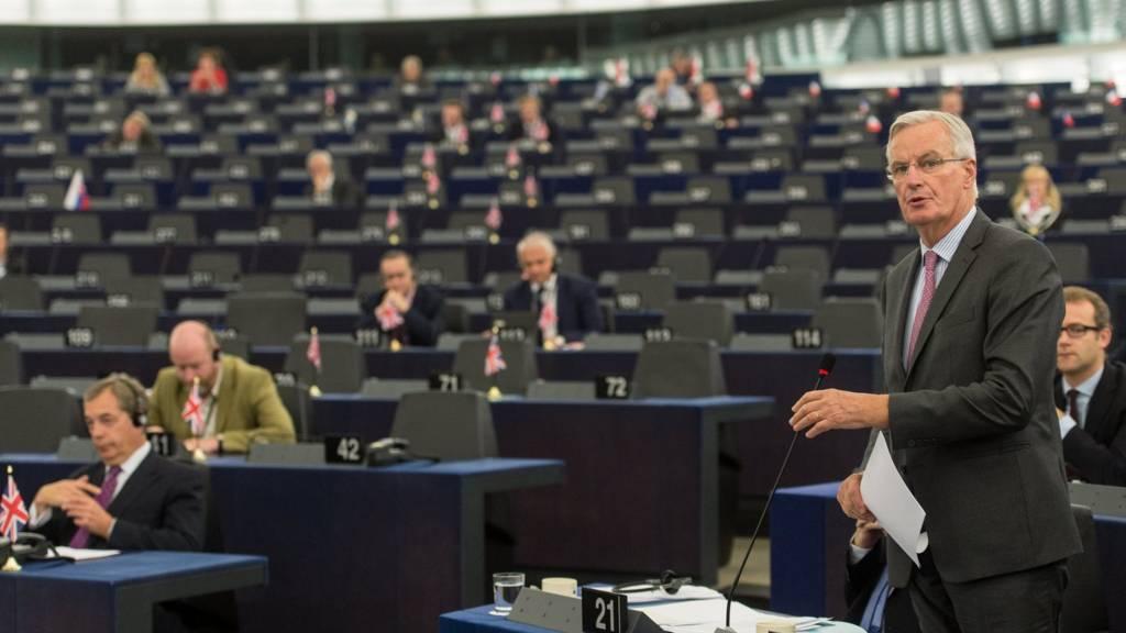 Michel Barnier at the European Parliament