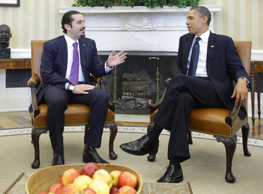 President Barack Obama meets with Lebanese Prime Minister Saad Hariri in the Oval Office of the White House in Washington. Hariri who resigned from Saudi Arabia nearly two weeks ago has been caught in the crossfir