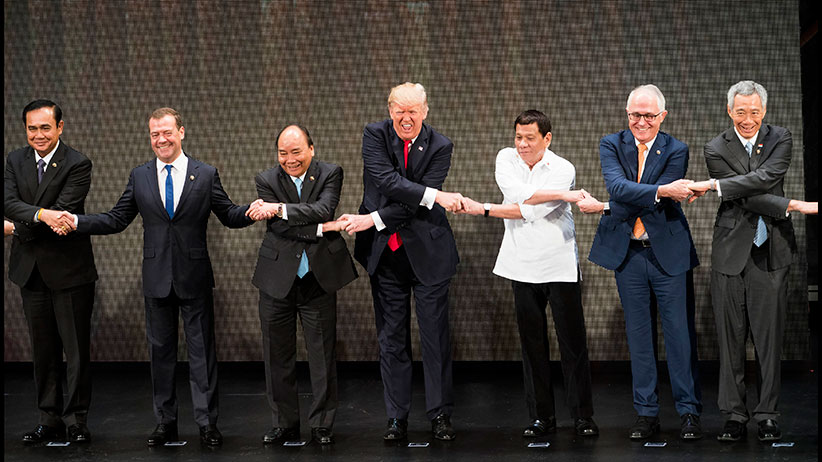 From left Prayut Cha-O-Cha prime minister of Thailand Dmitry Medvedev prime minister of Russia Nguyen Xuan Phuc prime minister of Vietnam President Donald Trump President Rodrigo Duterte of the Philippines Malcolm Turnbull prime minister of Aust