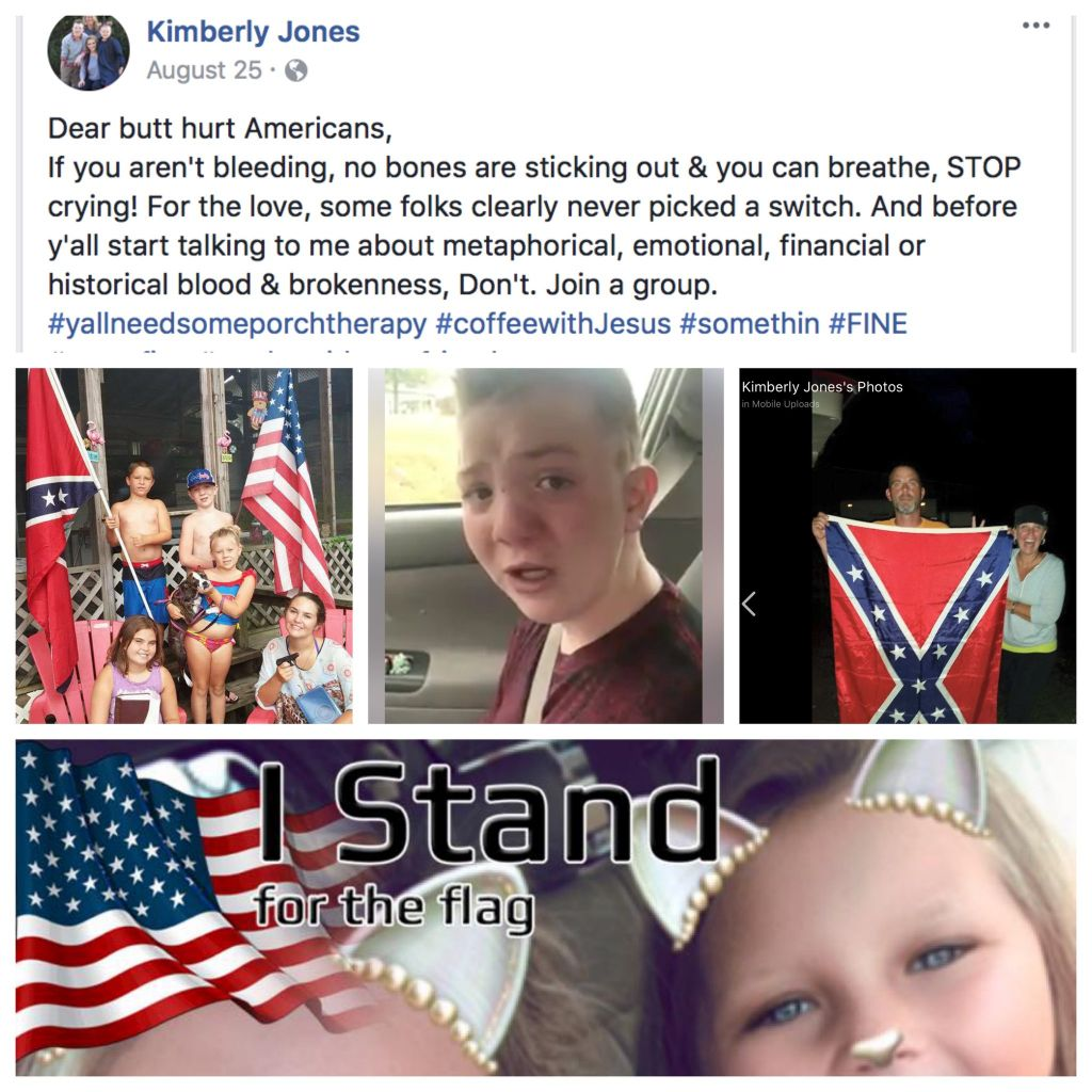 Kimberly Jones posted images of the confederate flag on Facenook an emblem of racism for many. A video of her son Keaton top centre went viral