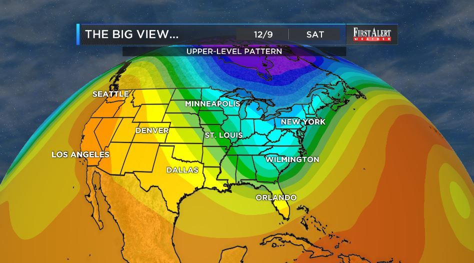 In the upper-levels of the atmosphere a deep trough of low pressure is likely to anchor itself over the eastern U.S. later this week and this weekend. With this think COLD