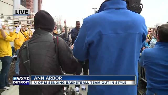 Hundreds of fans gathered in Ann Arbor on Wednesday to help send off the Michigan basketball team to the Final Four in San Antonio